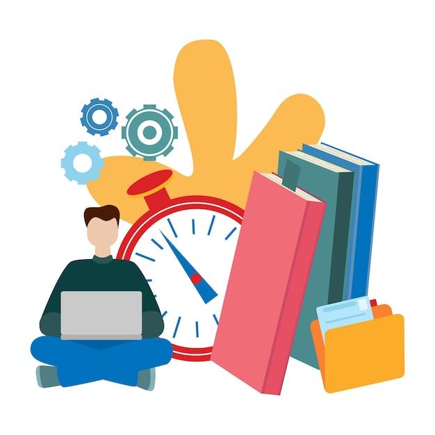 Konzepte für online-bildung, e-book, e-learning, selbstbildung. Premium Vektoren