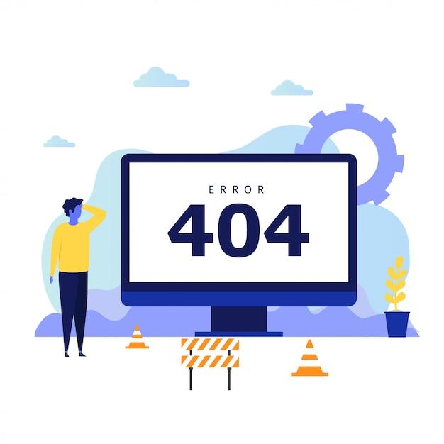 Konzeptentwurf des fehlers 404 für zielseite Premium Vektoren