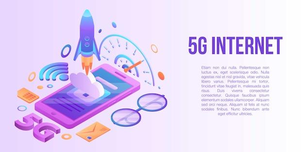 Konzeptfahne des internets 5g, isometrische art Premium Vektoren
