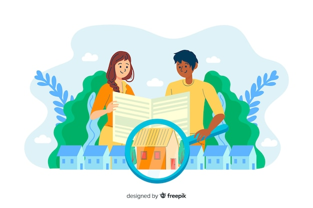 Konzepthaus, das nach landing page sucht Kostenlosen Vektoren