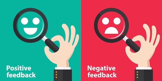 Konzepthintergrund des positiven und negativen rückgesprächs Premium Vektoren