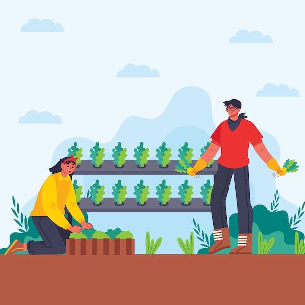 Konzeptillustration des biologischen landbaus des mannes und der frau Kostenlosen Vektoren
