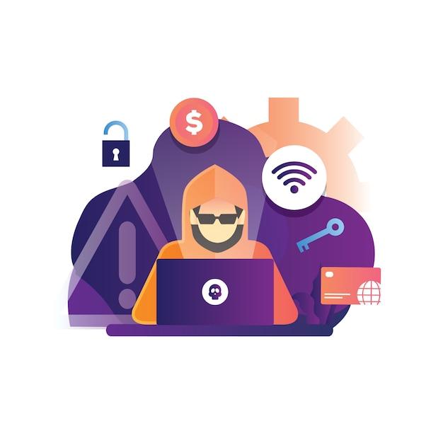 Konzeptillustration eines hackers, der ein internet-web hackt, um kreditkarte online auszunutzen Premium Vektoren