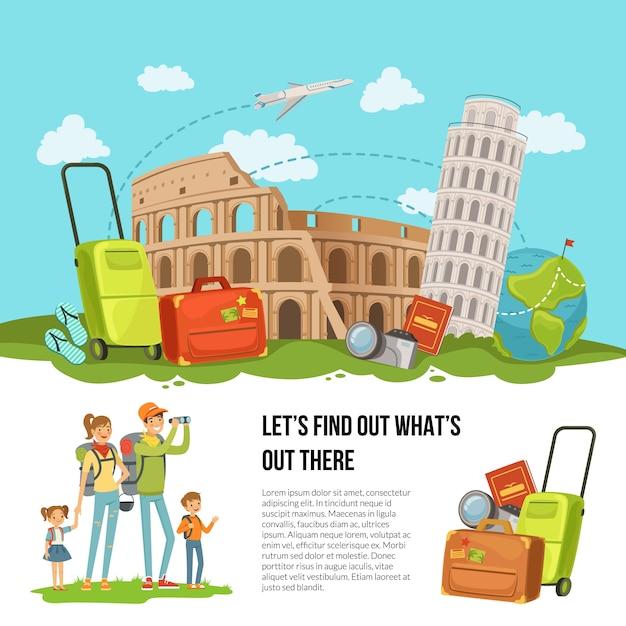 Konzeptillustration mit stapel des italienischen anblicks, des gepäcks und anderer reiseelemente mit glücklicher familie mit zwei kindern und platz für text Premium Vektoren