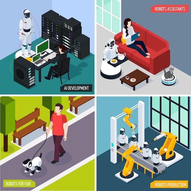 Konzeptillustration satz der künstlichen intelligenz Kostenlosen Vektoren