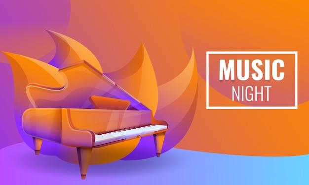 Konzeption der musikalischen nächte mit klavier Premium Vektoren