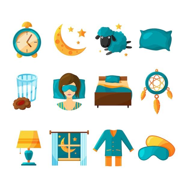 Konzeptionelle ikonensatz schlafen. vektorsymbole des gesunden schlafes Premium Vektoren