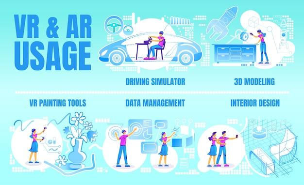 Konzeptionelle infografik-vorlage mit flacher farbe für vr und ar Premium Vektoren