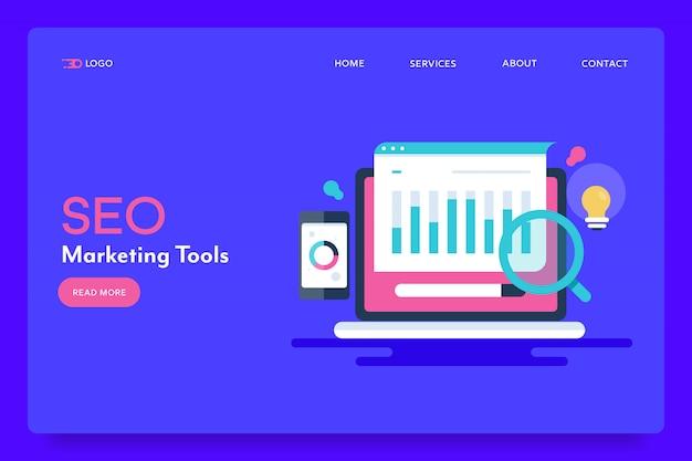 Konzeptionelle zielseite für seo-tools Premium Vektoren