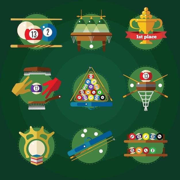 Konzeptionelles billard in kreisen mit attributen für poolspiel farbig und isoliert Premium Vektoren