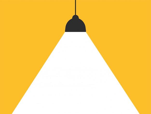 Konzeptlampe, die weißes licht auf einem modernen gelben hintergrund ausstrahlt, um ihre mitteilung zu addieren. Premium Vektoren