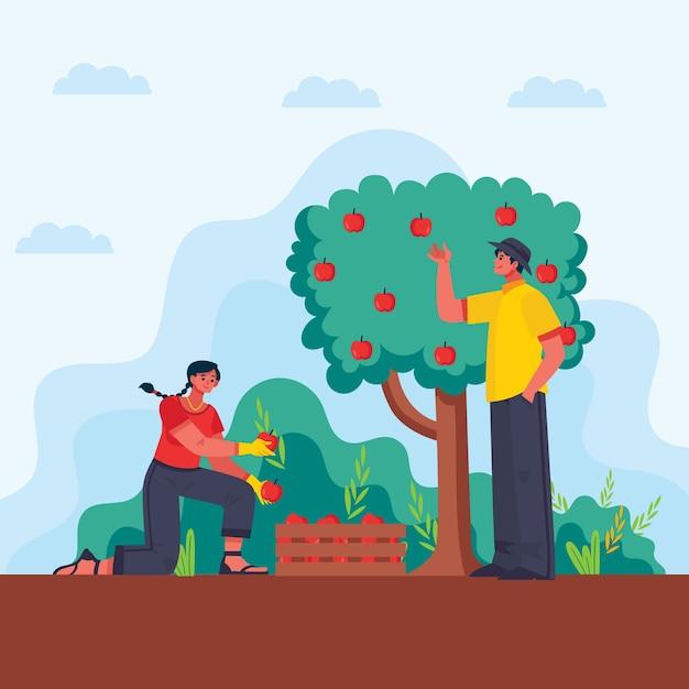 Konzeptmann und -frau des biologischen landbaus Kostenlosen Vektoren