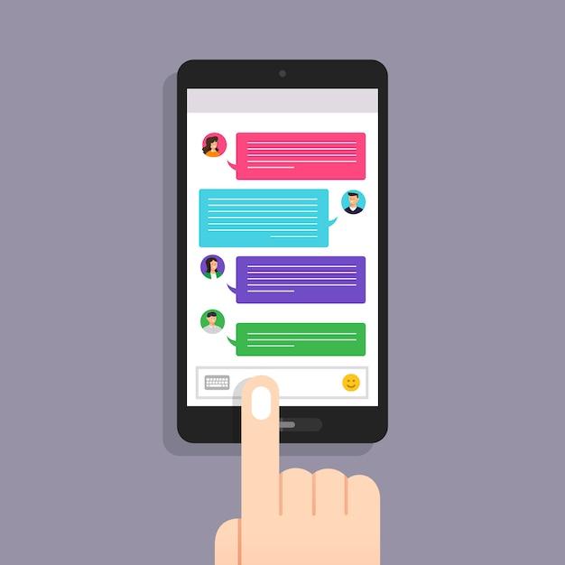 Konzeptnachricht und chat. präsentieren sie durch symboltextnachricht. veranschaulichen Premium Vektoren