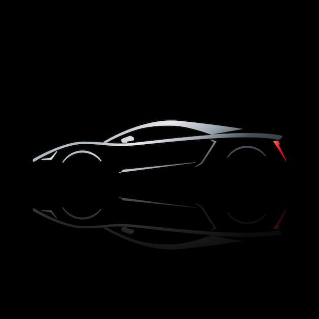 Konzeptsportwagenschattenbild mit reflexion. Premium Vektoren