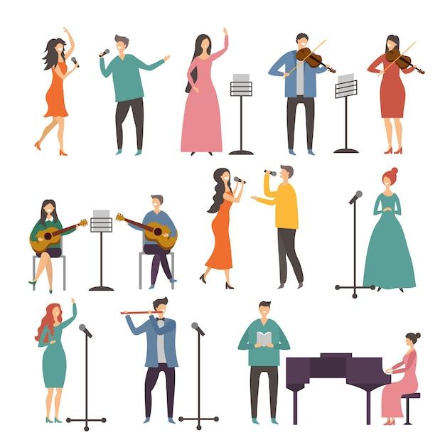 Konzert- und musikgruppen. gesangsduette. auftritte von musikern und sängern Premium Vektoren