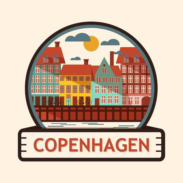 Kopenhagen stadt abzeichen Premium Vektoren