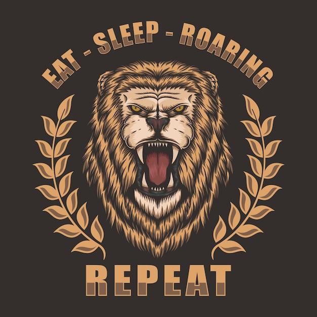 Kopf lion roaring Premium Vektoren