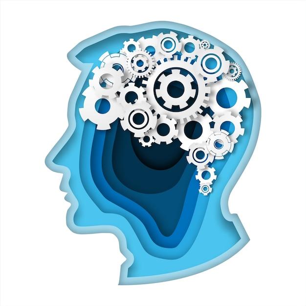 Kopf mit denkendem konzept der ganggehirnpapier-kunstart Premium Vektoren