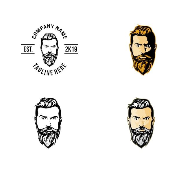 Kopf vorne beard logo Premium Vektoren
