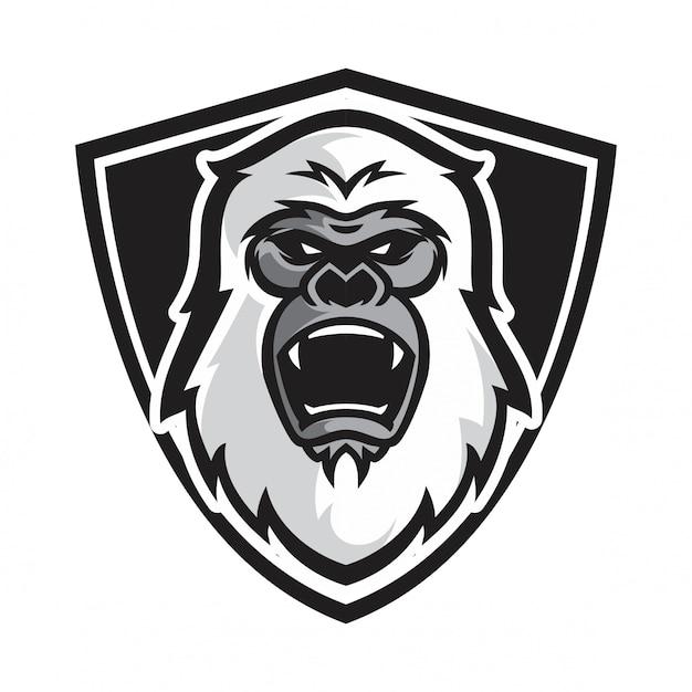 Kopf weiß gorilla vektor Premium Vektoren