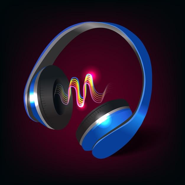 Kopfhörer dunkel und blau Kostenlosen Vektoren