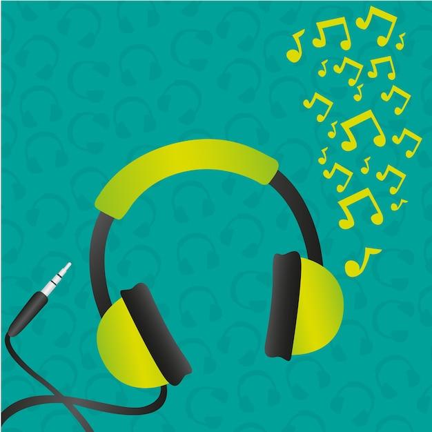 Kopfhörer grün hintergrundmuster Premium Vektoren