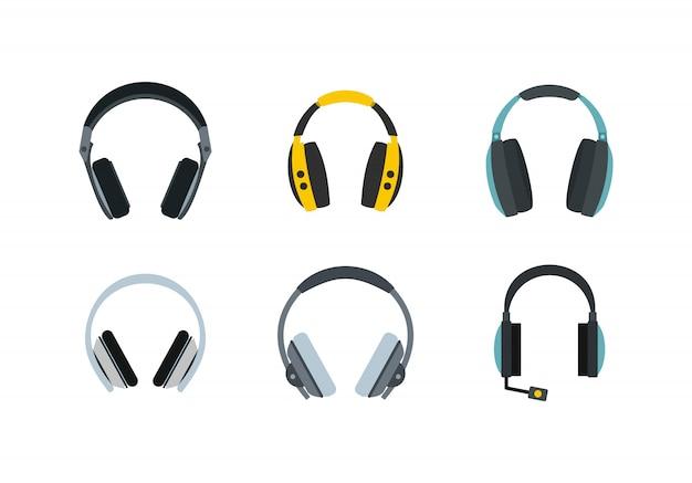 Kopfhörer-icon-set. flacher satz der kopfhörervektor-ikonensammlung lokalisiert Premium Vektoren