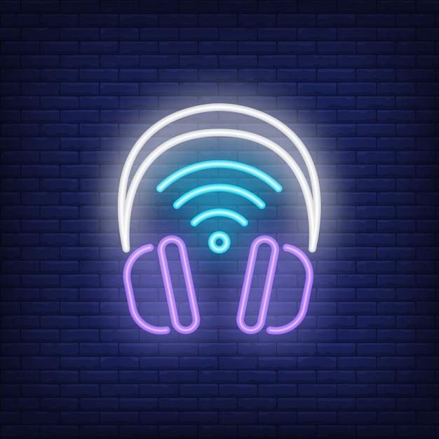 Kopfhörer mit wi-fi-symbol leuchtreklame Kostenlosen Vektoren