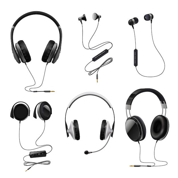 Kopfhörer-realistisches set Kostenlosen Vektoren