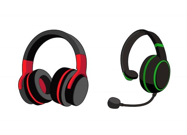 Kopfhörer stereo. kundendienst oder gamer-headset. kopfhörer mit mikrofon. vektorgrafikillustration. isolierter weißer hintergrund Premium Vektoren