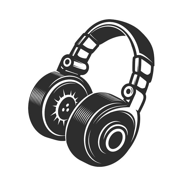 Kopfhörersymbol auf weißem hintergrund. element für emblem, abzeichen, zeichen. illustration Premium Vektoren