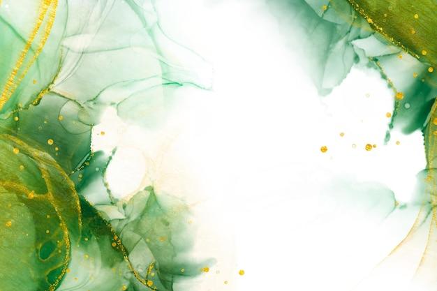 Kopieren sie den abstrakten grünen hintergrund des raumes mit glänzenden elementen Kostenlosen Vektoren