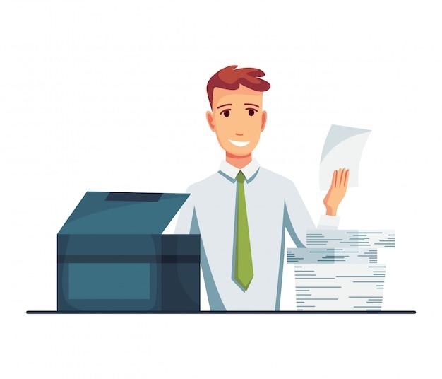 Kopierer von office-dokumenten. der büroangestellte druckt dokumente auf dem kopierer. der mensch arbeitet an einem fotokopierer Premium Vektoren