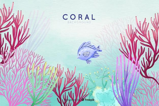 Korallenhintergrund des bunten aquarells unterwasser Kostenlosen Vektoren