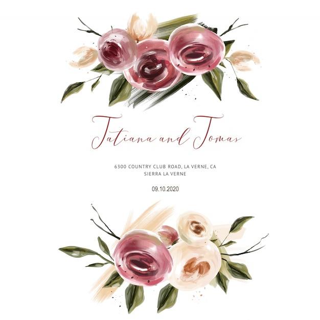 Korallenrote rosen, die einladung für hochzeitskarten, save the date und blätter wedding sind Premium Vektoren