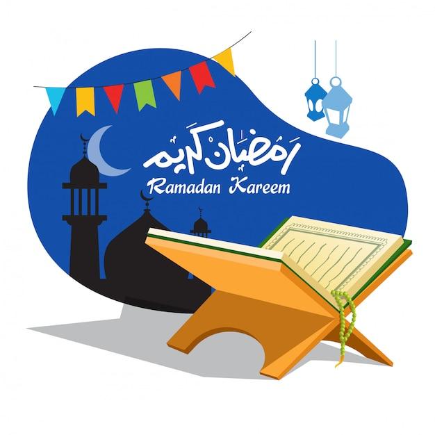 Koran und islamische ramadan-ikonen Premium Vektoren