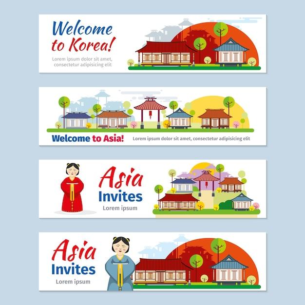 Korea, japan, thailand reisevektor banner vorlage set. Kostenlosen Vektoren
