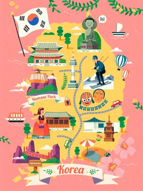 Korea-reisekarte, reizendes korea berühmtes wahrzeichen und kultursymbol auf karte in, rosa hintergrund Premium Vektoren