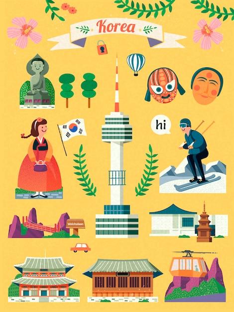 Korea-reisesymbolsatz, reizendes berühmtes korea-wahrzeichen und kultursymbol auf gelbem hintergrund Premium Vektoren