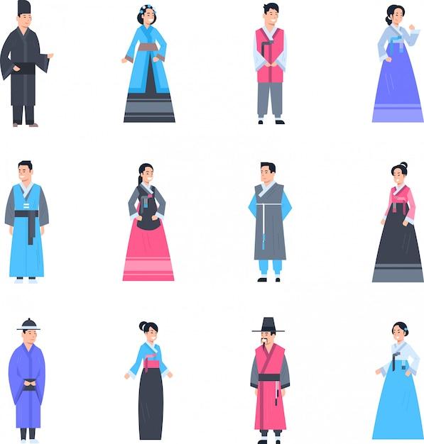 Korea-traditionelle kleidung stellte von den frauen und von männern ein, die altes kostüm lokalisierte asiatische kleidersammlung tragen Premium Vektoren