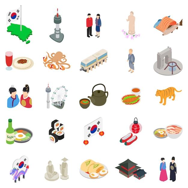 Koreanische icon-set Premium Vektoren
