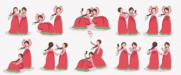 Koreanische mädchen zeichensatz. frauenkleid in hanbok. emotionen und gesten. Premium Vektoren