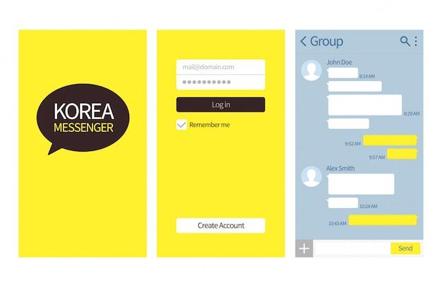 Koreanischer bote. kakao talk-schnittstelle mit chatboxen, kontaktliste und symbolvektor-nachrichtenvorlage Premium Vektoren