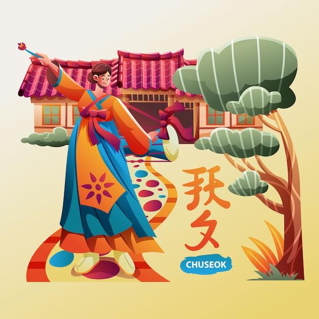 Koreanischer traditioneller tanz für das chuseok festival Premium Vektoren