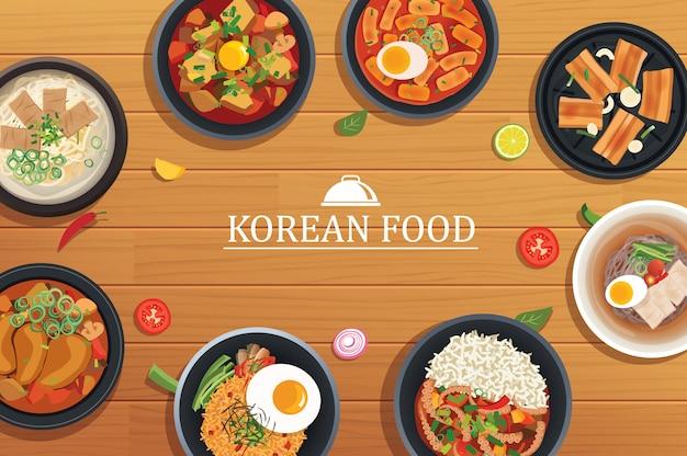 Koreanisches essen auf einem hölzernen tischhintergrund. Premium Vektoren