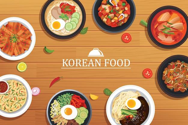 Koreanisches essen auf einem holztisch Premium Vektoren