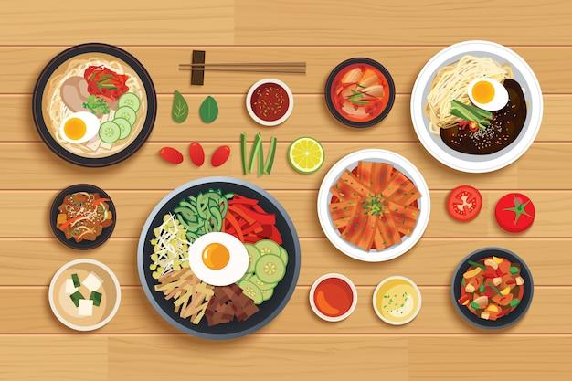 Koreanisches essen auf holztisch der draufsicht gesetzt Premium Vektoren