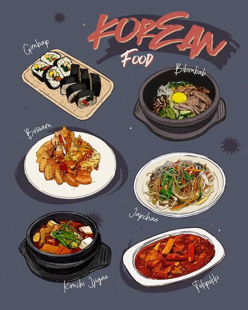 Koreanisches restaurant mit speisekarte. koreanisches essen skizzenmenü. Premium Vektoren