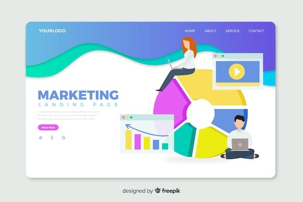 Korporative landingpage-webvorlage für marketingagenturen Kostenlosen Vektoren