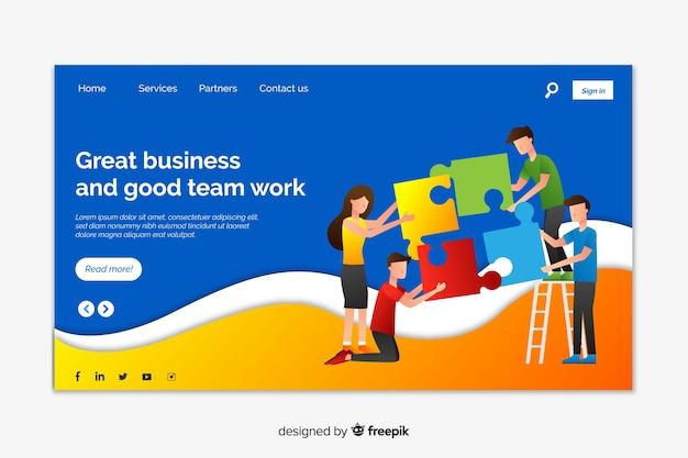 Korporative landingpage-webvorlage für unternehmen oder agenturen Kostenlosen Vektoren